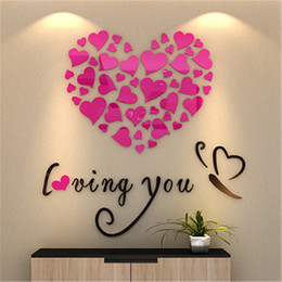 Love Wall Stickers For Bedrooms Australia - Love Heart DIY Wall Sticker For Living Room Bedroom Acrylic mirror Mural Wall Decals Removable 3D Art Modern Hotel Home Decor