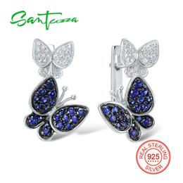 $enCountryForm.capitalKeyWord Australia - Silver Butterfly Earrings For Women Blue White Cubic Zirconia Cz Stone Women Earrings Pure 925 Sterling Silver Fashion Jewelry Y19062703