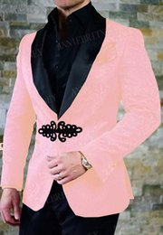 New prom tuxedos online shopping - ANNIEBRITNEY New Pink Men Suit Slim Fit Tuxedo Bridegroom Suit Set Wedding Prom Blazer with Black Chinese Knot Buckle Pants