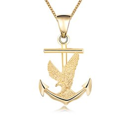 indian style necklace for men Australia - 18K Gold Plated Boat Anchor Eagle Pendant Necklace Hip Hop Style Men Chain Necklace for Gift Party