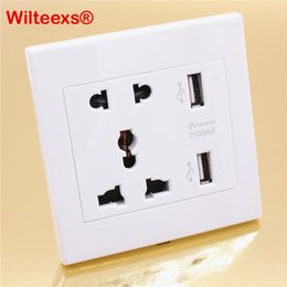 micro usb socket Australia - plug outlet WILTEEXS 1pcs Dual 2 USB Ports Electric Wall Charger Dock Socket Power AC DC Power Adapter Plug Outlet Panel Plate Wholesale