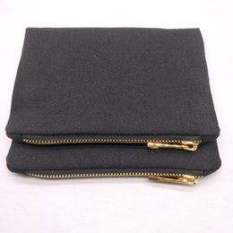 $enCountryForm.capitalKeyWord Australia - 1pc lot 12oz thick black canvas cosmetic bag with gold metal zip black lining 5x7in MINI blank canvas makeup pouch in stock