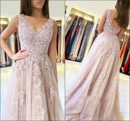53a60af0c561 ClassiC ball gown prom dresses online shopping - Charming V Neck Lace Pink Evening  Dresses Gowns