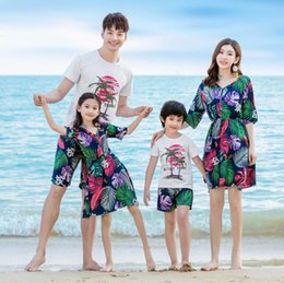c44efa3a79f Beach Family Matching Outfits Look Mother and Daughter Dresses Mommy and Me Clothes  Father Son Clothing Set Summer Dress Clothes