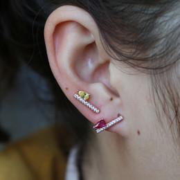 Jewelry Chic Australia - Delicate rose red stone stud earrings fine chic women girls jewelry tear drop cubic zircon fancy gifts cute fashion new earring