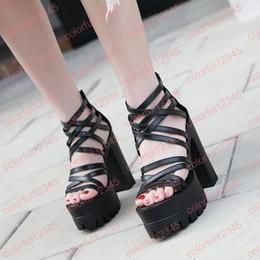 e5aaf7f3bee 13cm High Heels Sandals Black Cross Strappy Platform Shoes Punk Back Zipper Gladiator  Sandals Fashion Open Toe Shoes