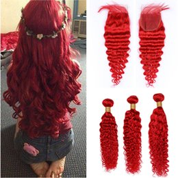 Bright machine online shopping - Pure Red Deep Wave Brazilian Human Hair Weave Wefts with Closure Bundles Bright Red Deep Wavy Virgin Hair with x4 Lace Front Closure