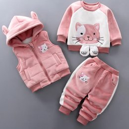 boy cat pant Australia - Baby Boys Girls Warm Set Winter Cartoon cat Kids Thickening Hooded Vest+Sweater+Pant Three-piece Sport Suits Children