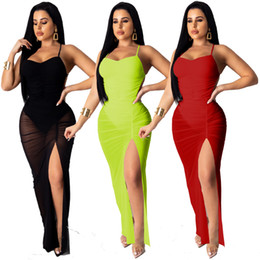 Wholesale black spaghetti strap bodysuit resale online – Women Sheer Mesh Spaghetti Straps Dress Party Club Sexy Backless Ruched Bodysuit High Slit Summer Dresses Vestidos