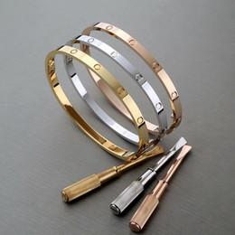 $enCountryForm.capitalKeyWord Australia - Titanium Steel Love silver rose gold Screw Screwdriver Bangles for Women Men Couple fashion designer jewelry for women