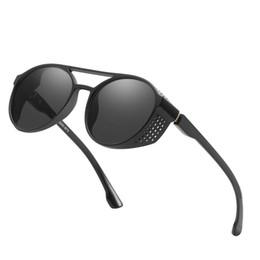 Round Steampunk Sunglasses Goggles Australia - High-end sunglasses brand designer round metal sunglasses men and women steampunk fashion glasses retro retro sunglasses free case and box