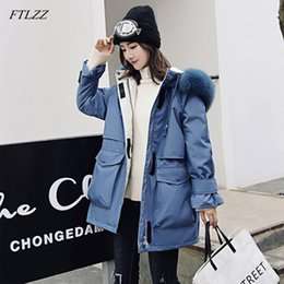 tie downs NZ - FTLZZ New Winter Jacket Women Large Fox Fur Coat White Duck Down Thick Parkas Warm Sash Tie Up Hooded Snow Overcoat
