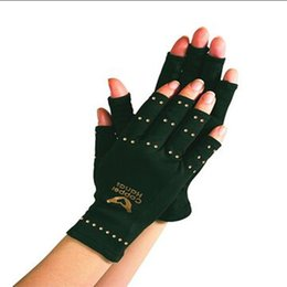 Hand gloves Half fingers online shopping - Anti Arthritis Copper Compression Therapy Half Finger Gloves Hand Pain Joint Relief Blood Circulation Gloves Pair