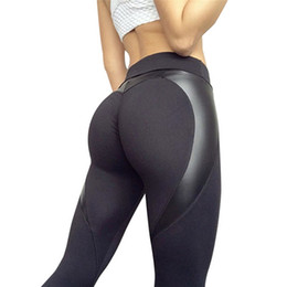 Discount plus size black leather tights - 2018 Sexy Black Heart Shaped Yoga Pants Sport Push Up Women PU Leather Skinny Sport Leggins High Waist Exercise Tights #