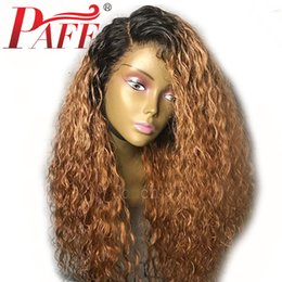 $enCountryForm.capitalKeyWord Australia - PAFF Ombre Color Human Hair Wigs Glueless Lace Front Remy Hair Wigs with Dark Roots Ombre 1b 27# Lace Frontal Wigs