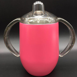 Stock Handle Australia - Hot selling Sippy Cups Creative 12oz Egg Mugs Double Handles Stainless Steel Cups Coffee Wine Lids Toddler tumbler egg mug in stock