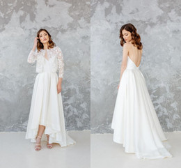 T back models online shopping - Elegant Spaghetti Backless A line Bohemian Wedding Dress With Jacket Vintage White Satin Beach Boho Tea Length Bridal Gown