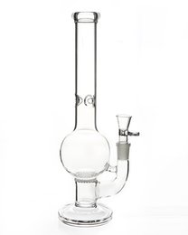 Recycling Bongs UK - Transparent glass bongs 18.8mm joint water pipes 28cm tall straight spherical filter handmade recycle glass decoration GB262