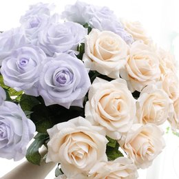 White roses online shopping - 11PCS Real Touch Rose Artificial Flower PU White Peony Pink Wedding Flower Party Decor for Home Decoration Fake Flowers