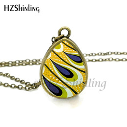 $enCountryForm.capitalKeyWord UK - New Peacock Feather Necklace Abstract Feathers Jewelry Tear Drop Pendant Art Nouveau Chain Glass Photo Necklaces