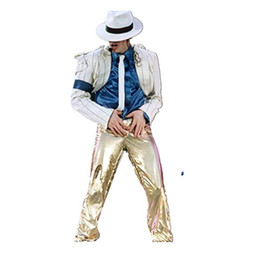 7eb769b58d662 Michael Jackson Cosplay Suits Smooth Crinimal Costume White Siuts Gold  Pants Men s Fashion Suits Pants Shirt Hat Tie