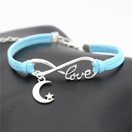 $enCountryForm.capitalKeyWord Australia - Sliver Infinity Love Moon Stars Goodnight Pendants Customized Charms Fit Original Bracelets Blue Leather Suede Rope DIY Personalized Jewelry