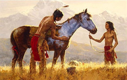 $enCountryForm.capitalKeyWord Australia - Howard Terpning Horse of a Different Color High Quality Handpainted &HD Print Figure Portrait Wall Art oil painting On Canvas Multi size W23