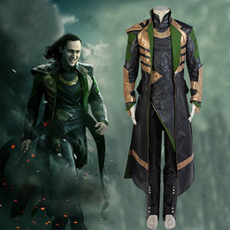 Discount loki cosplay - men Marvel Thor The Dark World Cosplay Loki Full Sets Uniform Cosplay Halloween Carnival Men Costume