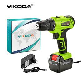 Großhandel YIKODA 21V Akku-Bohrschrauber Elektroschrauber Haushalts Wiederaufladbare Eine Lithium-Batterie Carton Multifunktions-Power Tools-freies Verschiffen
