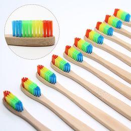 $enCountryForm.capitalKeyWord Australia - 8 Pcs Colorful Bamboo Toothbrush Novelty Rainbow Wood Teeth Brush Soft-bristle Bamboo Fibre Wooden Handle