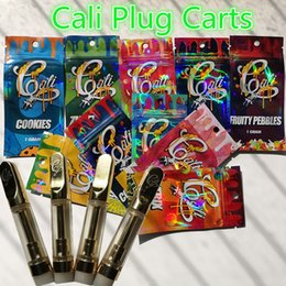 Chinese  Cali Plug Carts Vape Cartridge Ceramic Coil Golden Metal Tips Oil Cartridge with Hologram Packing bags 1.0ml 0.8ml 510 Thread Empty Tank manufacturers