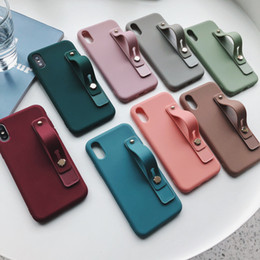 note wristband Canada - Candy Color Matte Wrist Strap Wristband Soft TPU Case For iPhone 11 Pro Max 8 7 6 Samsung S9 S10 Plus Note 9 10 10+ A10 A20 A30 A50 A60 A70