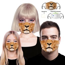 filter dust mask Canada - 3D Lion Cotton Designer Face Mask With Replaceable PM2.5 5 Layer Filter, Washable Protective Kids Face Mask Fashion Dust Cloth Mouth Mask