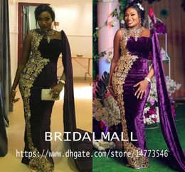 Vintage black eVening gown online shopping - Aso Ebi Gold Appliqued African Evening Dresses Sheer Neck Purple Velvet Mermaid Prom Dresses Sexy Formal Party Bridesmaid Pageant Gowns