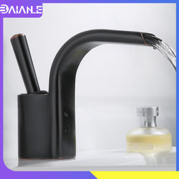 black faucet led Canada - Bathroom Faucet Waterfall Basin Faucet Black Brass Bathroom Sink Faucet Toilet Single Handle Hot and Cold Water Basin Mixer Tap
