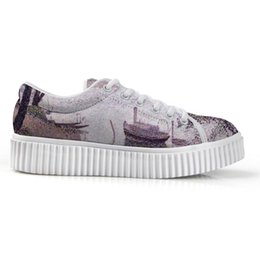 Paint Art 3d NZ - New Exclusive Women's Low Top Platform Canvas Shoes 3D Print With Art Painting Lady's height increase Flats Shoe 2019 Spring
