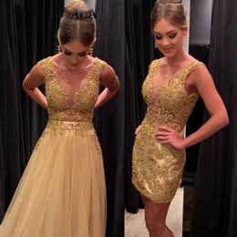 00e23ca98a2f0 Luxury Short Prom Dress 2019 Appliques Sexy Mini Skirt Detachable Tulle Train  Formal Evening Gown V Neck Backless Party Dresses