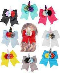 $enCountryForm.capitalKeyWord Australia - NEW 8PCS lot 7'' Pearl flower Unicorn Cheer Bows white grosgrain ribbon Hair Bow With Elastic Hair Bands For Girls Hair accessories
