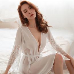 $enCountryForm.capitalKeyWord NZ - Sexy Lingerie Porno Sleepwear Robe Women Lace Underwear 2 PCS Sex Set Nightgowns Babydoll G-String Hot Erotic Transparent Dress