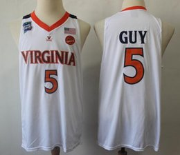 46dfcde9728 NCAA 2019 Champions Virginia Cavaliers Jersey 5# Kyle Guy ACC UVA Final  Four 12 De'Andre Hunter White Men's Basketball Jerseys Stitched