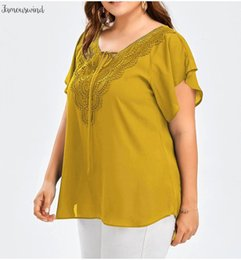 plus size lace ruffled blouses NZ - Blouses Size Plus Chiffon Patchwork Shirt Womens Tops And Short Sleeve Big Size Blusas Femininas Blusas Lace Mujer De Moda
