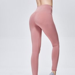 women trousers navy UK - LU-32 Solid Color Women Yoga Pants High Waist Sports Gym Wear Leggings Elastic Fitness Lady Overall Full Tights Workout Running Trousers