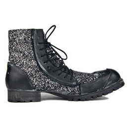 $enCountryForm.capitalKeyWord UK - Men deep retro motorcycles Punk style Cowboy genuine Leather with Sequins Rock Boots wild man Fashion handmade shoes