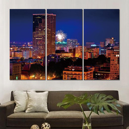 art three panels UK - Canvas prints art portland oregon night city fireworks 3 modular pictures wall pictures printed on canvas for decor no frame