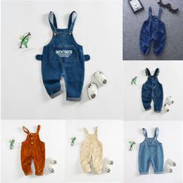 Cute denim overalls online shopping - Kids Cargo Pants Jeans Cord Corduroy Overalls Cute Ears Front Pocket Infant Toddler Kids Clothes Designer Jumpsuit Unisex Fall Suspender