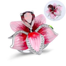 $enCountryForm.capitalKeyWord Australia - New Design Pink Zircon Flower Rings For Women Rose Flower Mood Promise Ring Female Jewelry Accessories