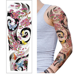 tatoo temporary lips NZ - Long Full Arm Rose Clock Temporary Tattoos For Men Women Tatoo Body Leg Art Makeup Large Tiger Flower Fake Tattoo Stickers