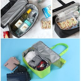 wholesale mesh sports bags Canada - Multi-function lunch bag insulated reusable men's and women's sports picnic handbag double mesh storage bag T3I5687