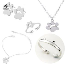 Christmas Gift Sets For Kids Australia - oly2u 2018 Fashion Wedding Jewelry Set Cat DOG Paw Necklace Earring Ring Set Statement Jewelry Christmas birthday Gift for kids