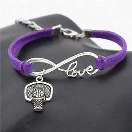 $enCountryForm.capitalKeyWord Australia - Silver Infinity Love Shoot Basketball Hoop Rim Sports Pendant Charm Fit Bracelet Bangles Purple Leather Suede Rope DIY Original Jewelry Gift